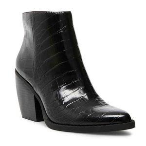 Black Madden Girl Snakeskin booties